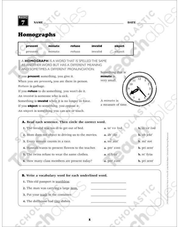 Homograph Worksheets 5th Grade Homographs Grade 5 Vocabulary