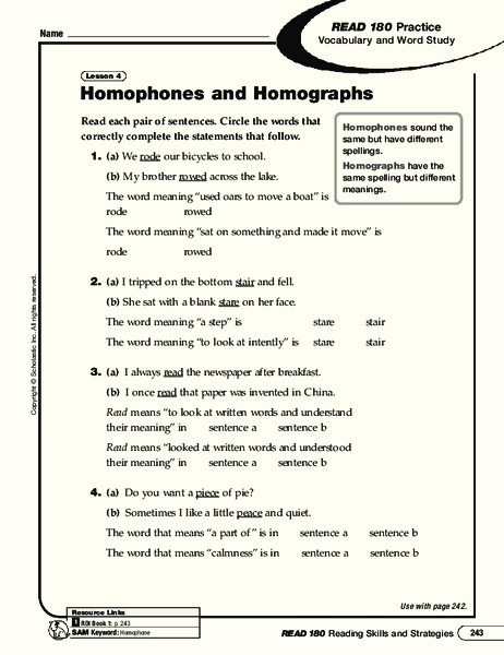 Homograph Worksheets 5th Grade Homophones and Homographs Worksheet for 3rd 5th Grade