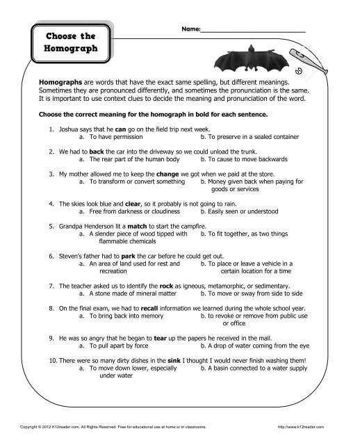 Homographs Worksheet 3rd Grade Choose the Homograph