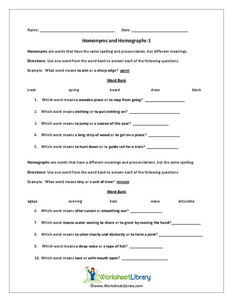 Homographs Worksheet 3rd Grade Homonyms and Homographs Worksheet for 3rd 4th Grade