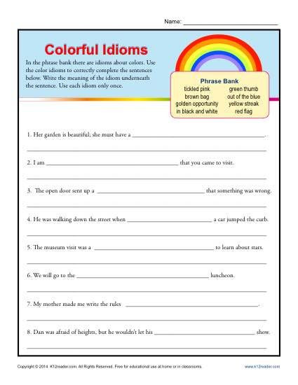 Idiom Worksheets for 2nd Grade Colorful Idioms