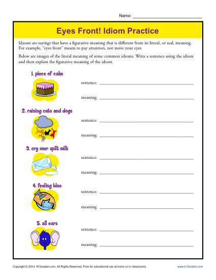 Idiom Worksheets for 2nd Grade Eyes Front Idiom Practice