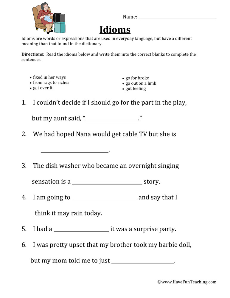Idiom Worksheets for 2nd Grade Filling In Idioms Worksheet