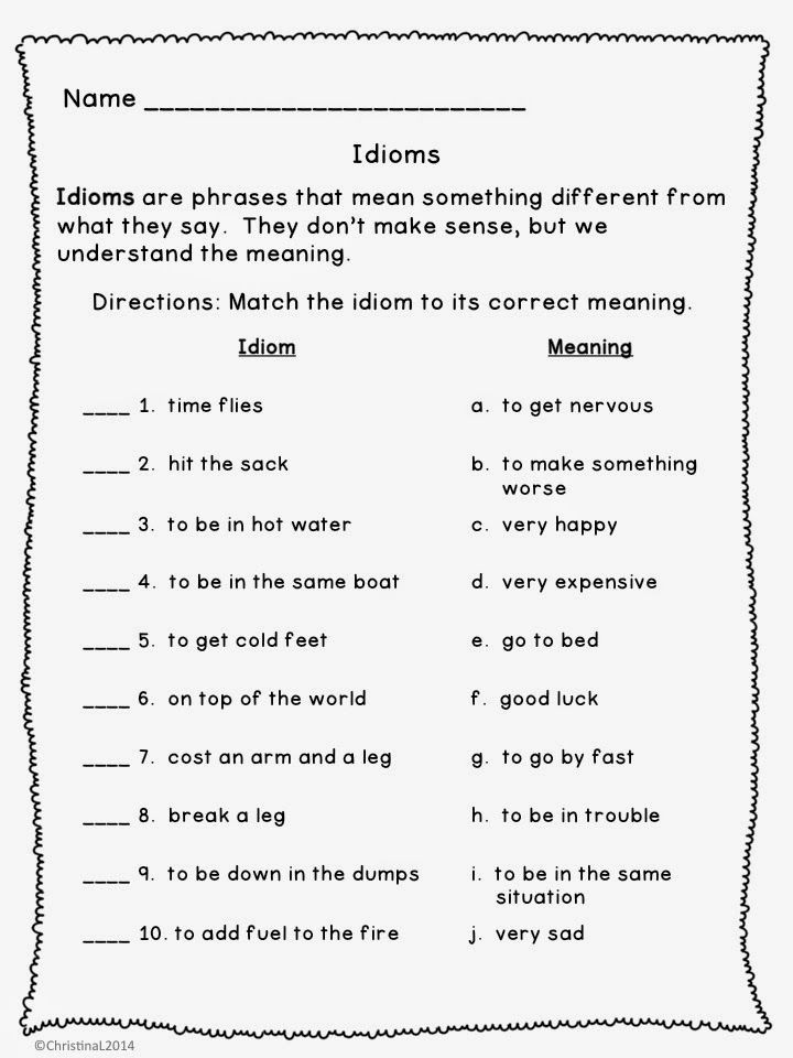 Idiom Worksheets for 2nd Grade Idiom Worksheet 3rd Grade