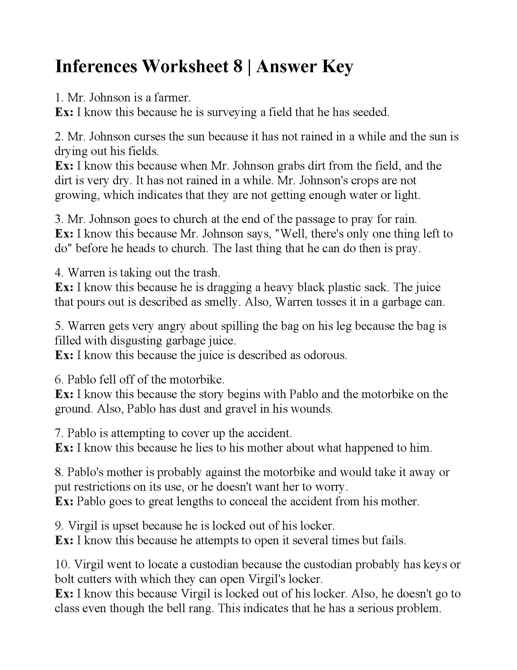 Inference Worksheets Grade 3 Inferences Worksheet 8