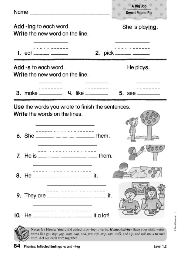Inflectional Endings Worksheets 2nd Grade Phonics Inflected Endings S and Ing Worksheet for 1st 2nd