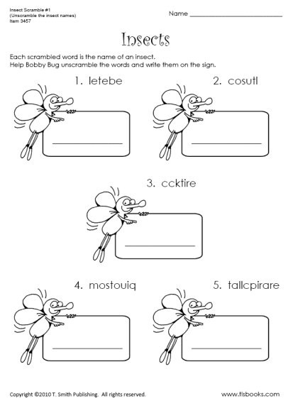 Insect Worksheets for First Grade Insect Scramble Worksheet