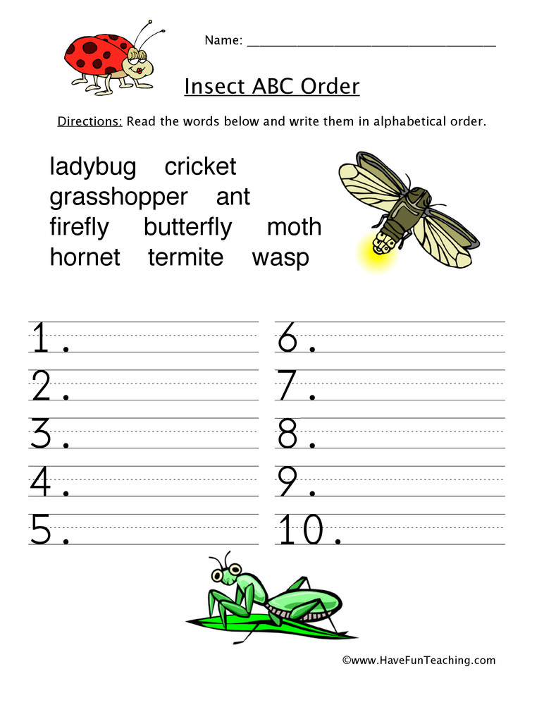 Insect Worksheets for First Grade Insects Alphabetical order Worksheet