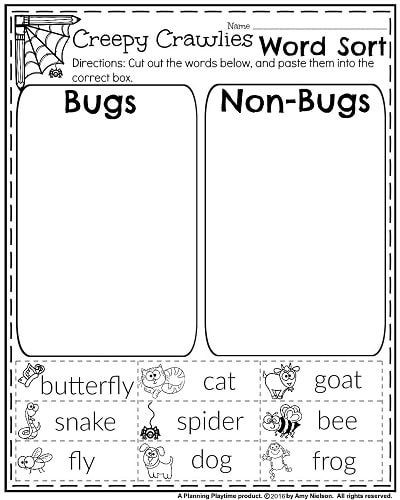 Insect Worksheets for First Grade October First Grade Worksheets