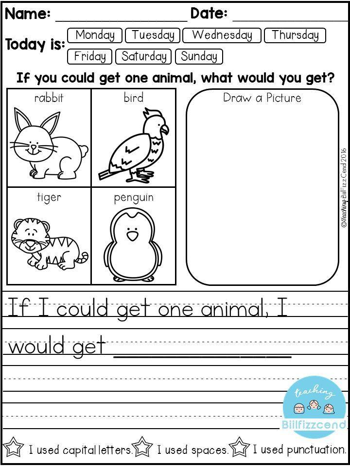 Kindergarten Sentence Starters Free Daily Writing Prompts