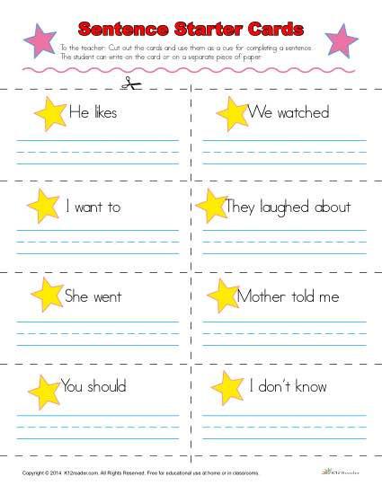 Kindergarten Sentence Starters Sentence Starters Cards for Kindergarten and 1st Grade