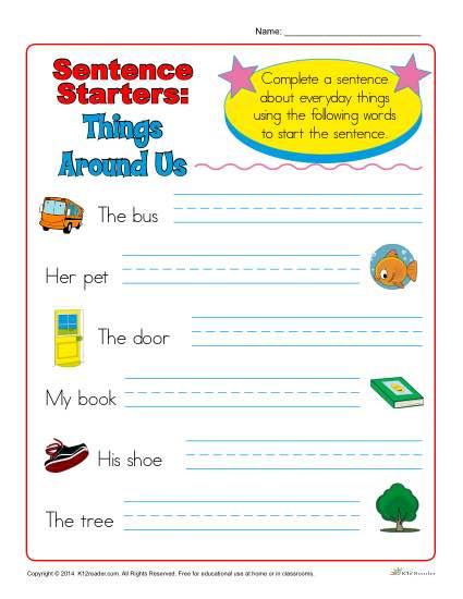 Kindergarten Sentence Starters Sentence Starters for K 1st Grade