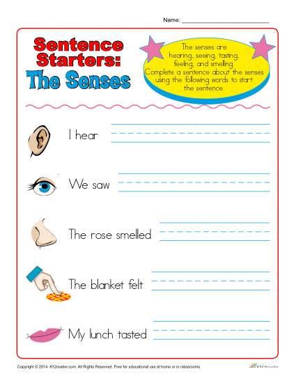 Kindergarten Sentence Starters Sentence Starters for Kindergarten and 1st Grade the Senses