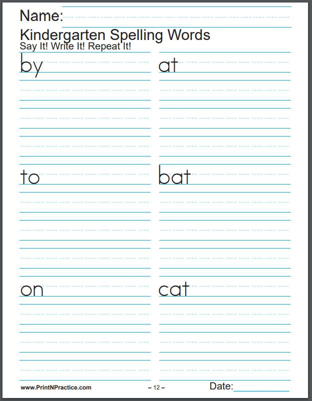 Kindergarten Spelling Words Printable 672 Printable Spelling Worksheets ⭐ Easy Spelling Practice