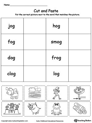 Kindergarten Spelling Words Printable Ed Word Family Match Picture with Word