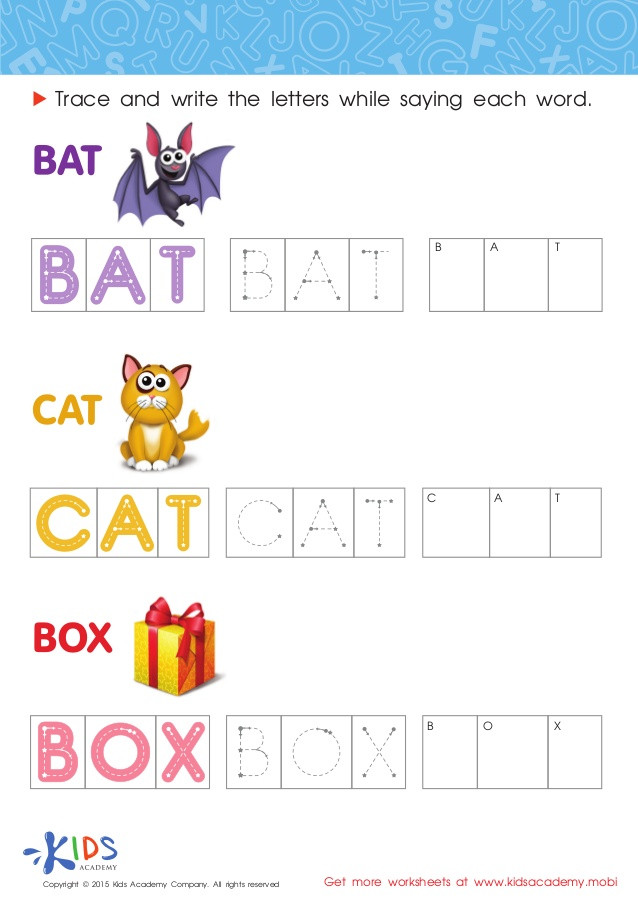 Kindergarten Spelling Words Printable Spelling Worksheets for Preschool and Kindergarten