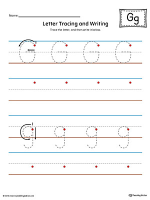 Letter G Tracing Worksheets Preschool Letter G Tracing and Writing Printable Worksheet Color