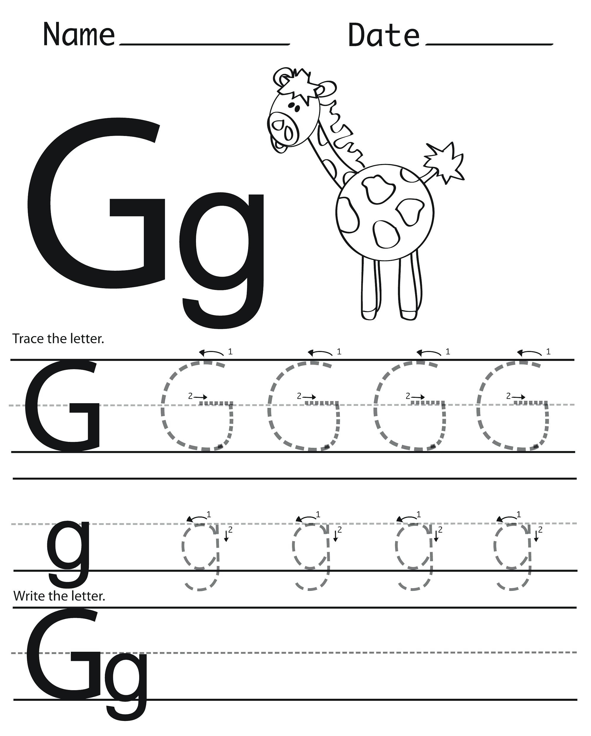 Letter G Tracing Worksheets Preschool Trace Letter G Trace Letter G Activity Trace Small Letter C