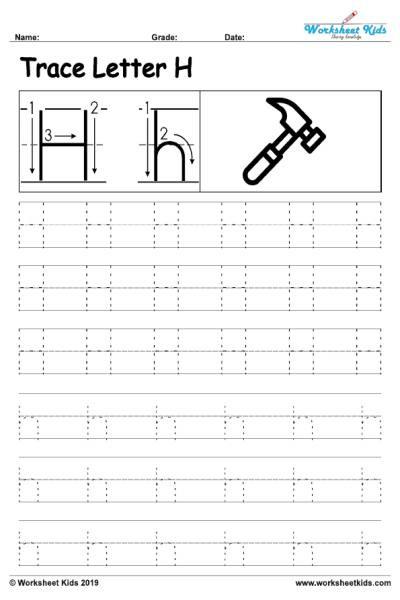 Letter H Tracing Worksheets Preschool Letter H Alphabet Tracing Worksheets Free Printable Pdf