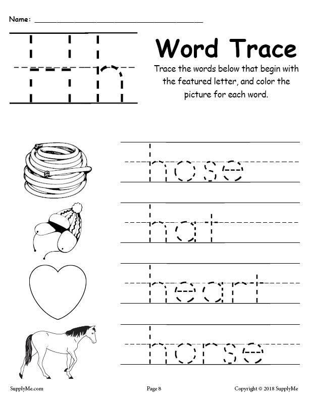 Letter H Tracing Worksheets Preschool Letter H Words Alphabet Tracing Worksheet