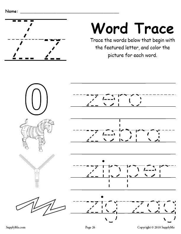 Letter H Tracing Worksheets Preschool Letter Z Words Alphabet Tracing Worksheet
