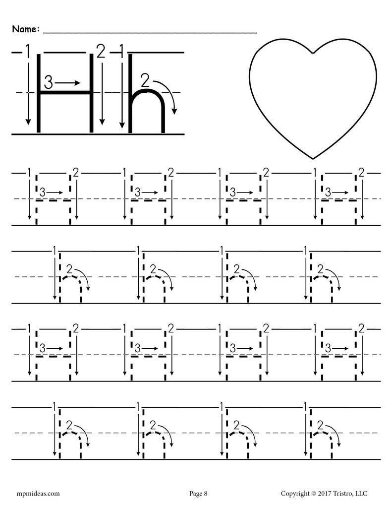 Letter H Tracing Worksheets Preschool Printable Letter H Tracing Worksheet with Number and Arrow Guides