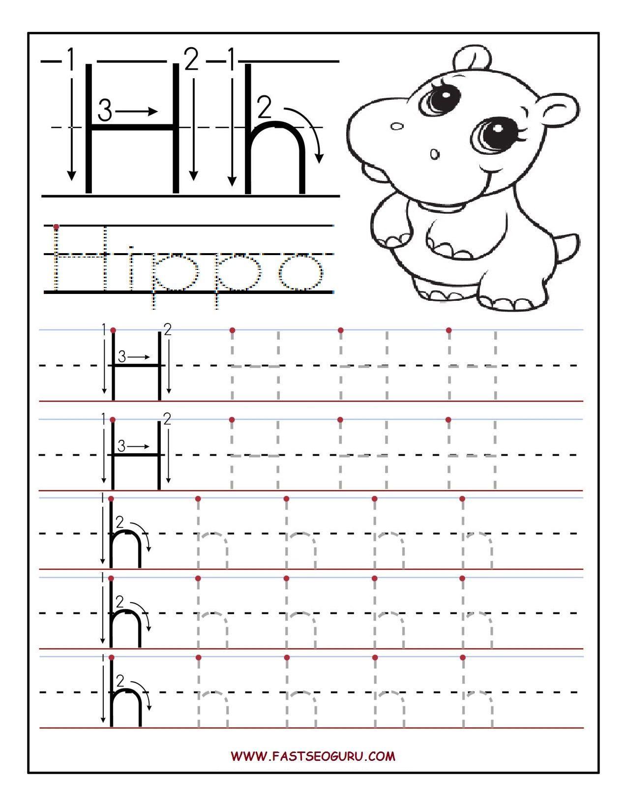 Letter H Tracing Worksheets Preschool Printable Letter H Tracing Worksheets for Preschool