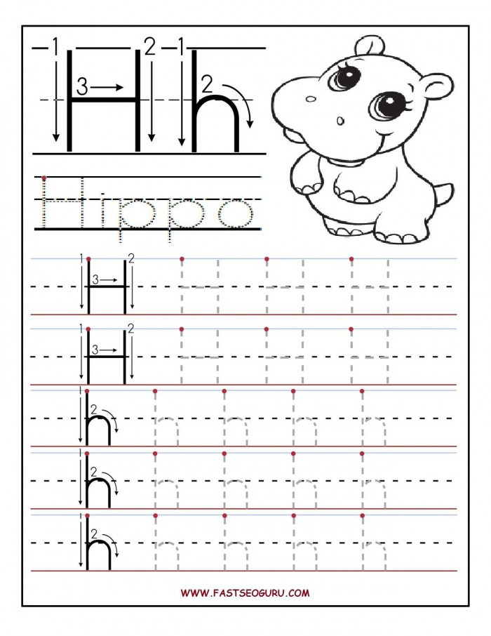 Letter H Worksheets for Preschool Trace and Write the Letter H Worksheets