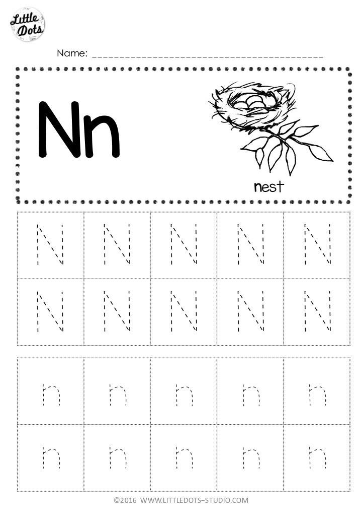 Letter N Worksheets for Preschool Free Letter N Tracing Worksheets