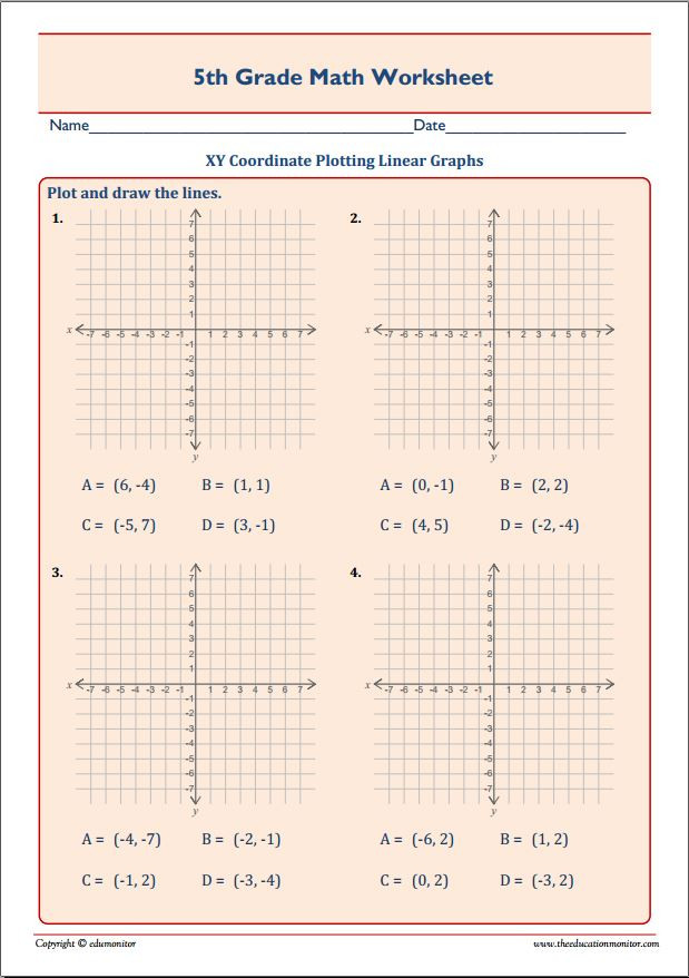 Line Graph Worksheet 5th Grade Xy Coordinate Plotting Linear Graphs Edumonitor