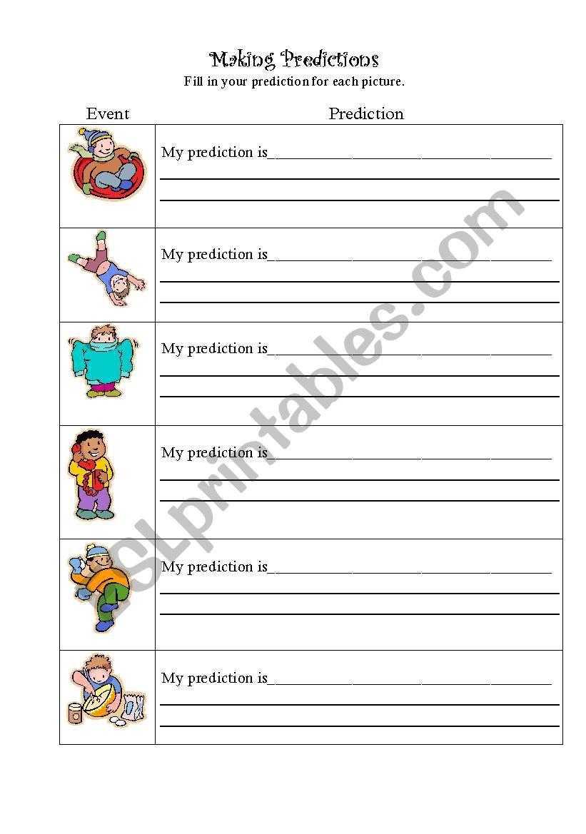 Making Predictions Worksheets 3rd Grade Making Predictions Esl Worksheet by Bcesl1st