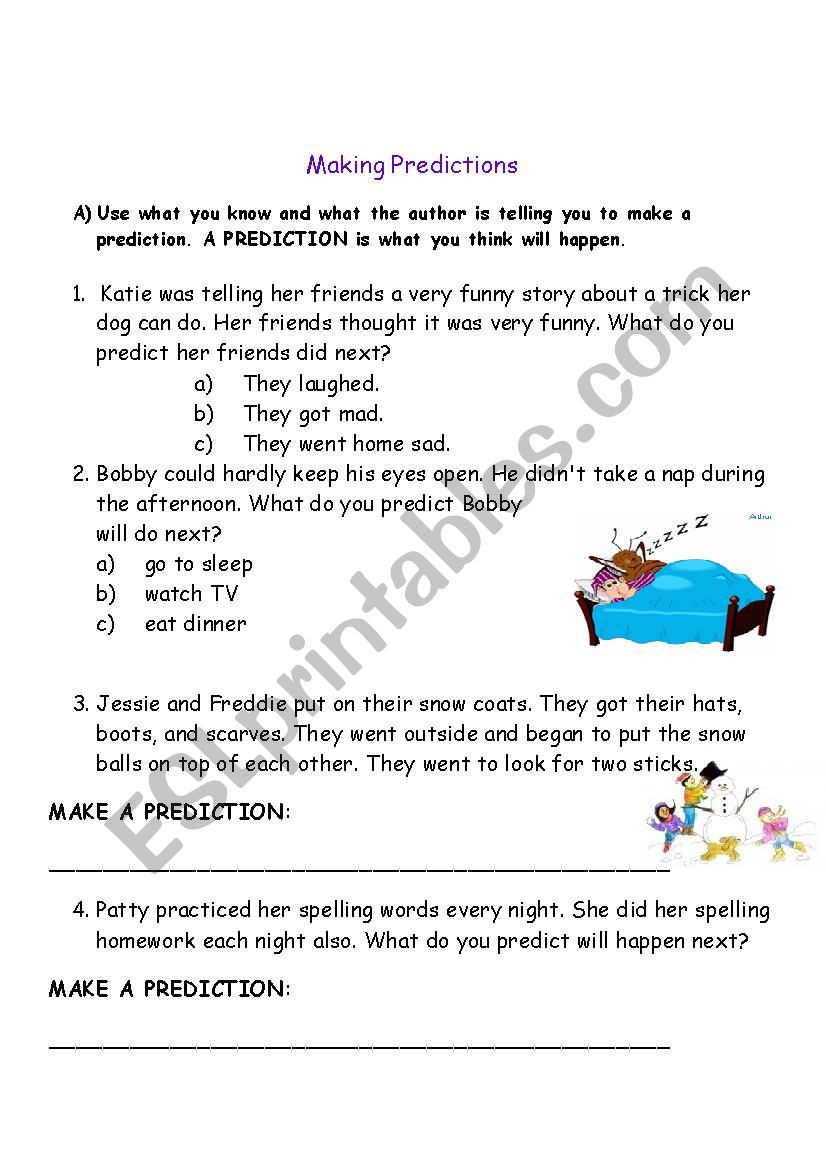 Making Predictions Worksheets 3rd Grade Making Predictions Esl Worksheet by Celeine