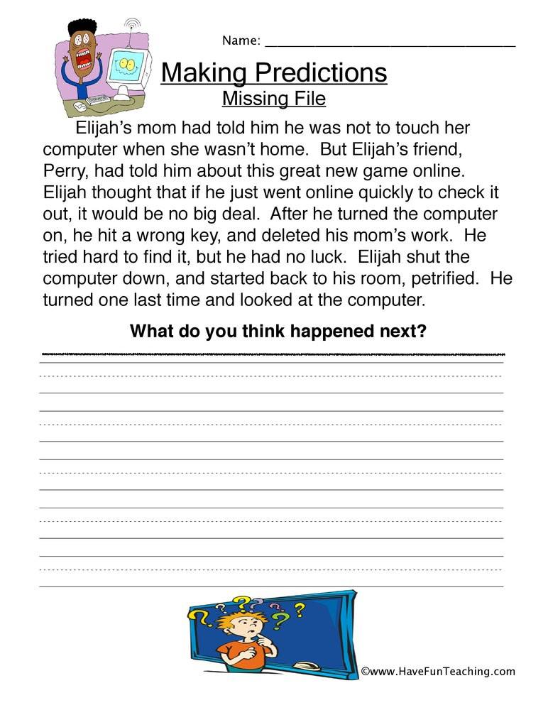 Making Predictions Worksheets 3rd Grade Missing File Predictions Worksheet