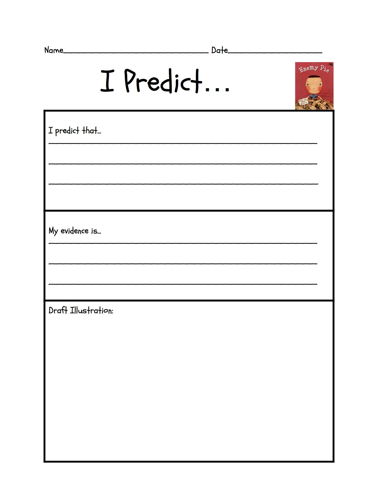 "Making Predictions Worksheets 3rd Grade Predicting ""enemy Pie"""