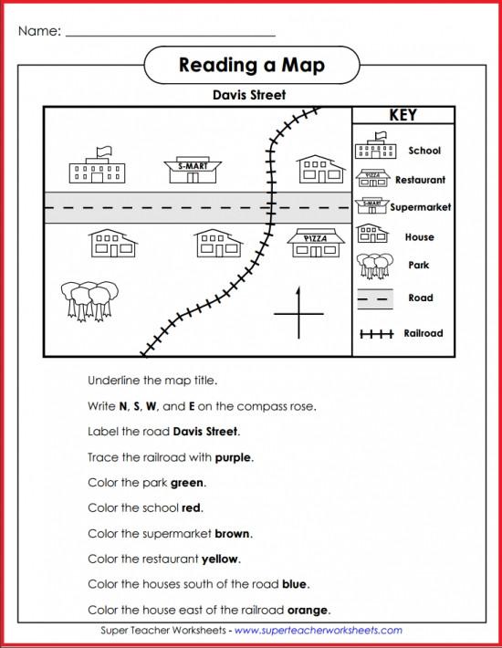 Map Skills Worksheet 2nd Grade Basic Map Skills Davis Street Activity
