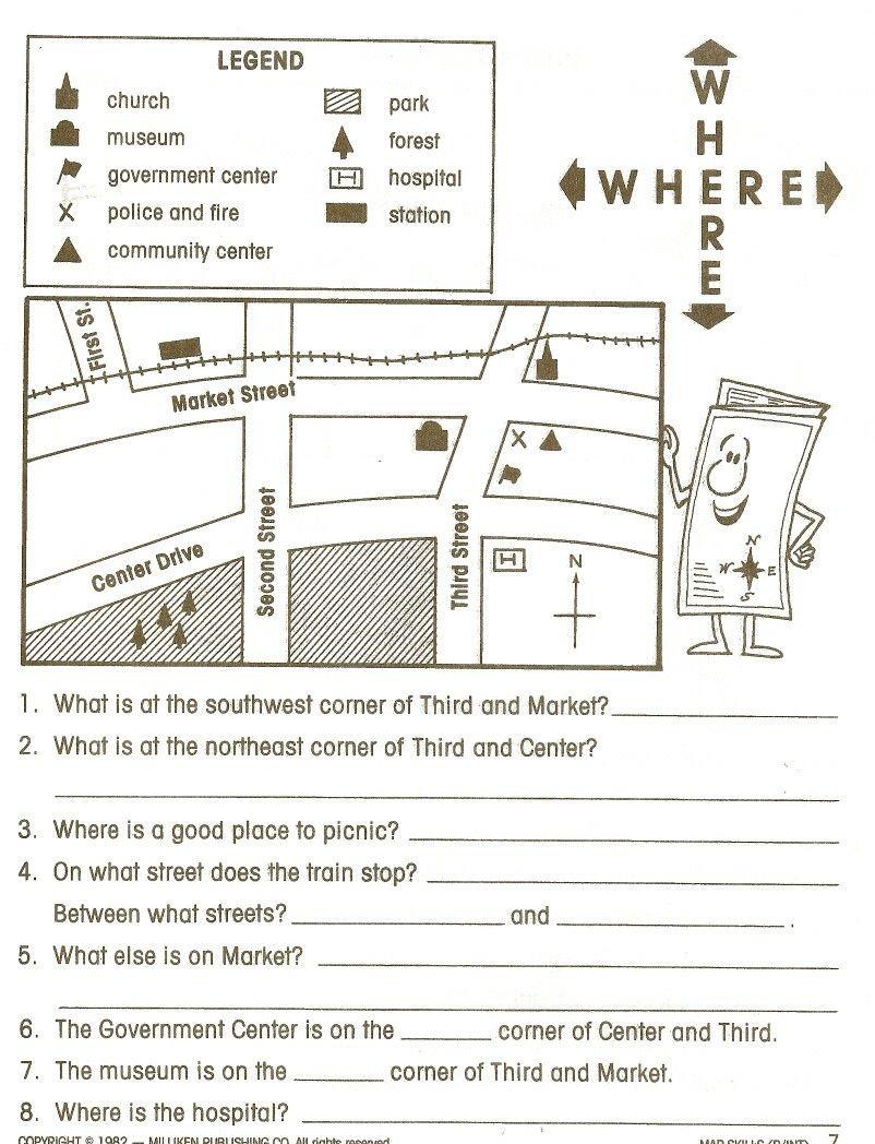 Map Skills Worksheet 4th Grade 2nd Grade Map Skills Worksheets