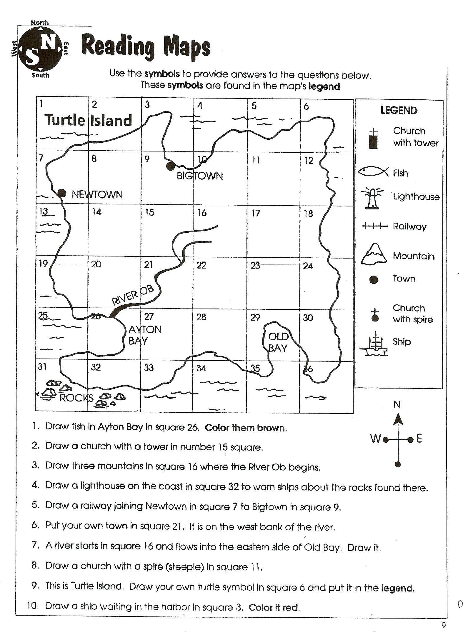 Map Skills Worksheet 4th Grade Map Skill Worksheets 2nd Grade In 2020