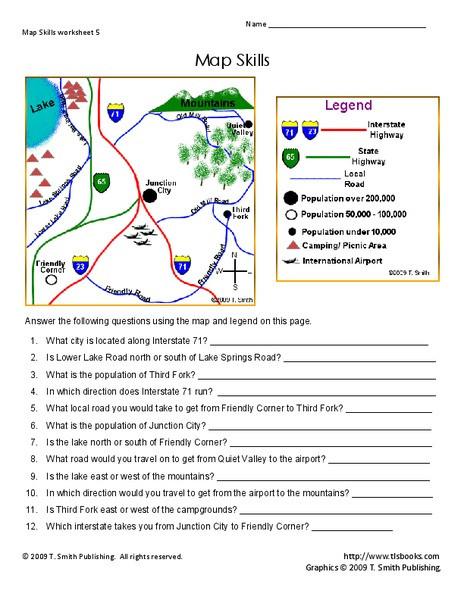 Map Skills Worksheet 4th Grade Map Skills Worksheet for 2nd 4th Grade