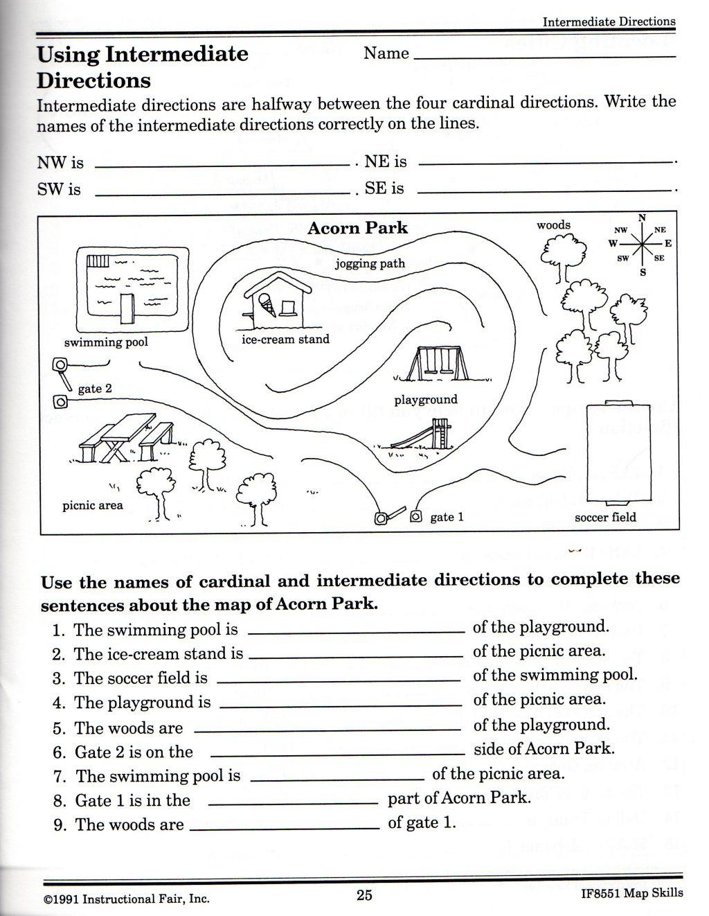 Map Skills Worksheet 4th Grade Map Skills Worksheets for Print Map Skills Worksheets