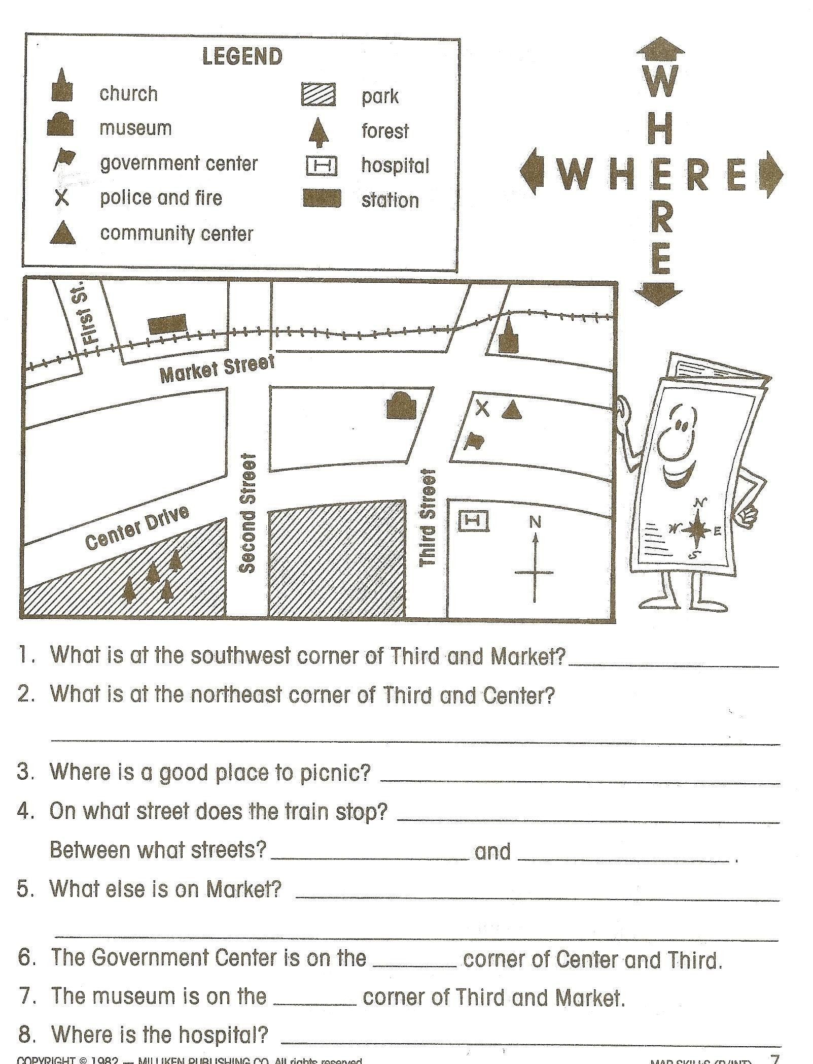 Map Worksheets for 2nd Grade 4th Grade Map Skills Worksheets