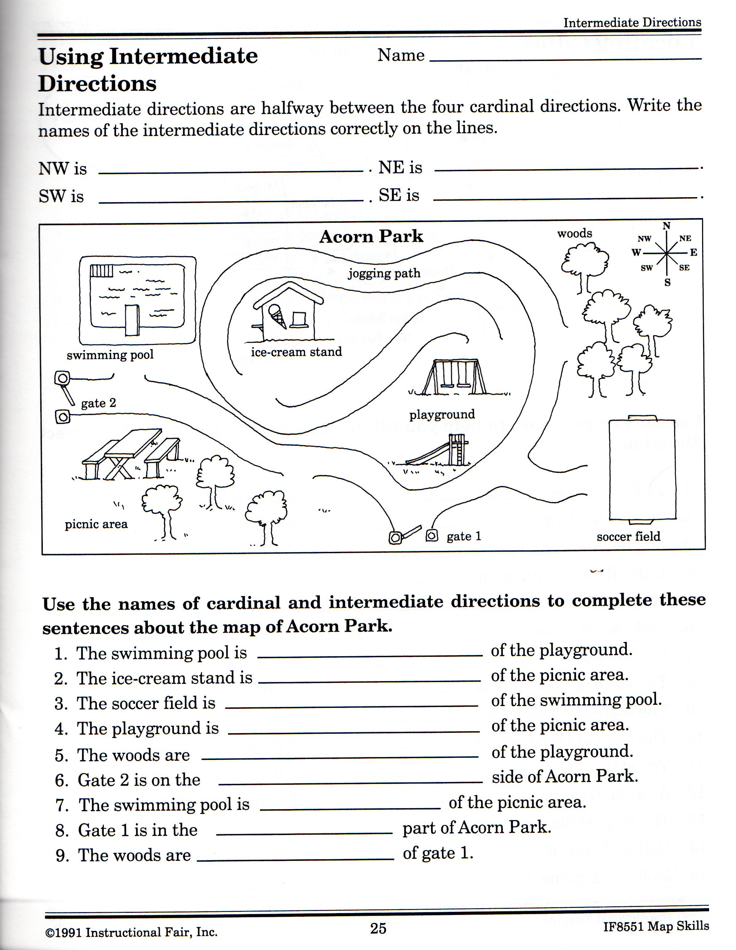 Map Worksheets for 2nd Grade Map Key Worksheets for 2nd Grade