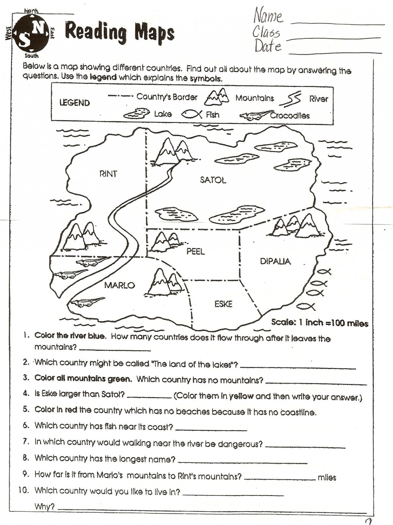 Map Worksheets for 2nd Grade Map Skills Worksheets to Printable Map Skills Worksheets