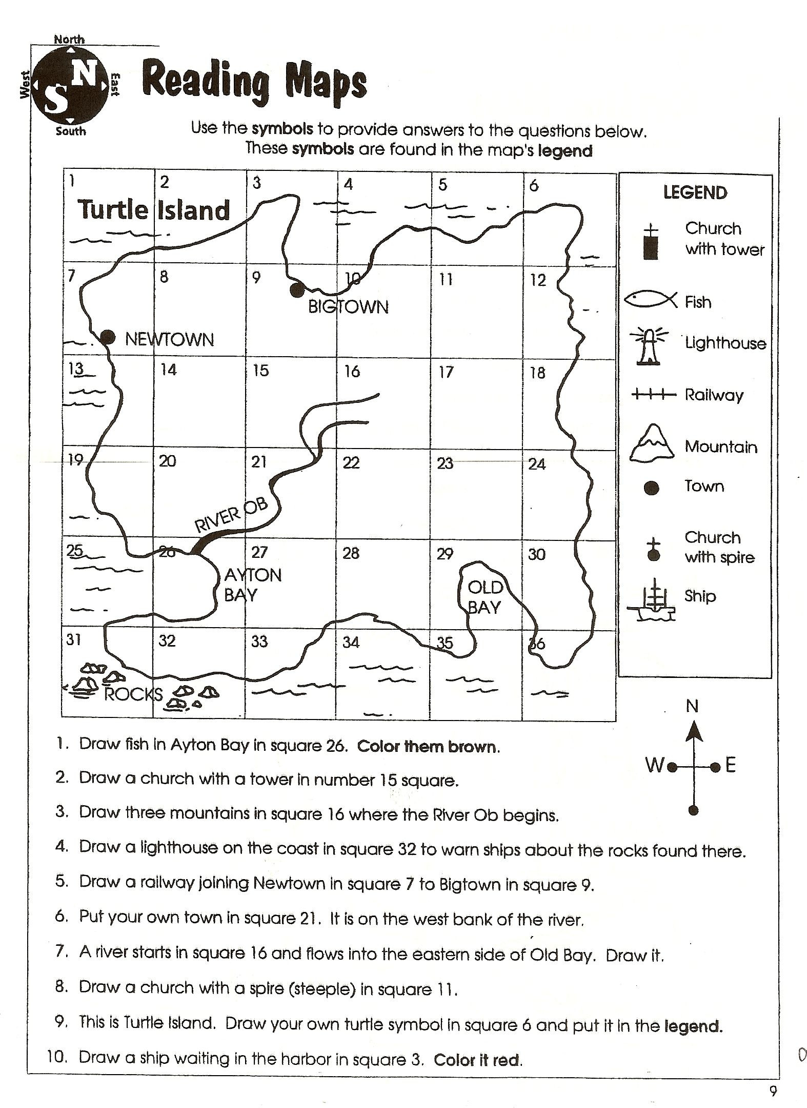 Map Worksheets for 2nd Grade Second Grade Map Skills Worksheets