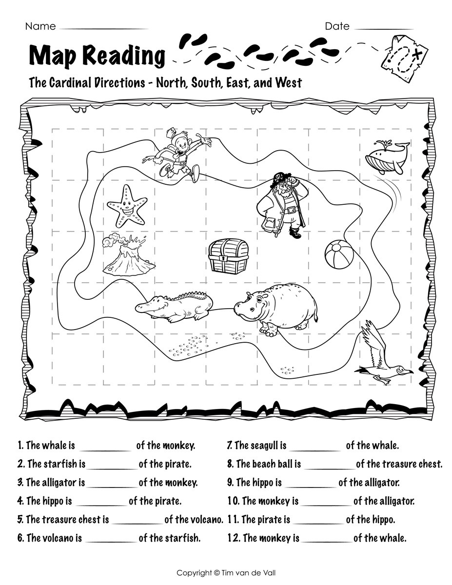 Map Worksheets for First Grade Free Printable Map Reading Worksheets Tim S Printables