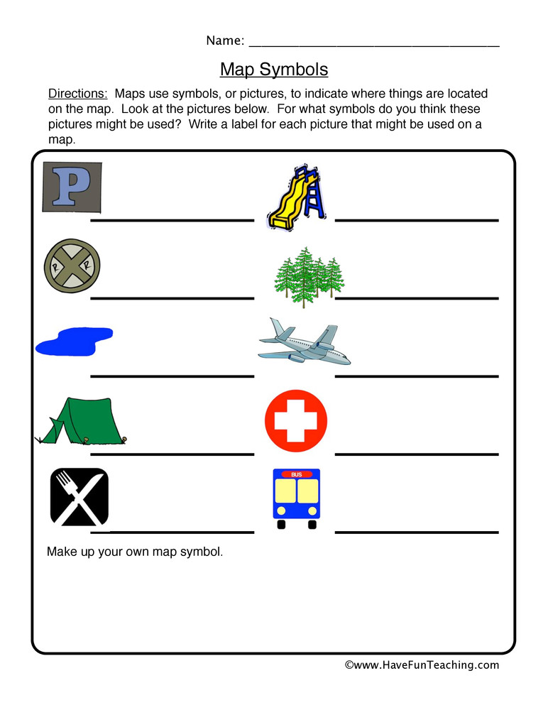 Map Worksheets for First Grade Map Symbols Worksheet