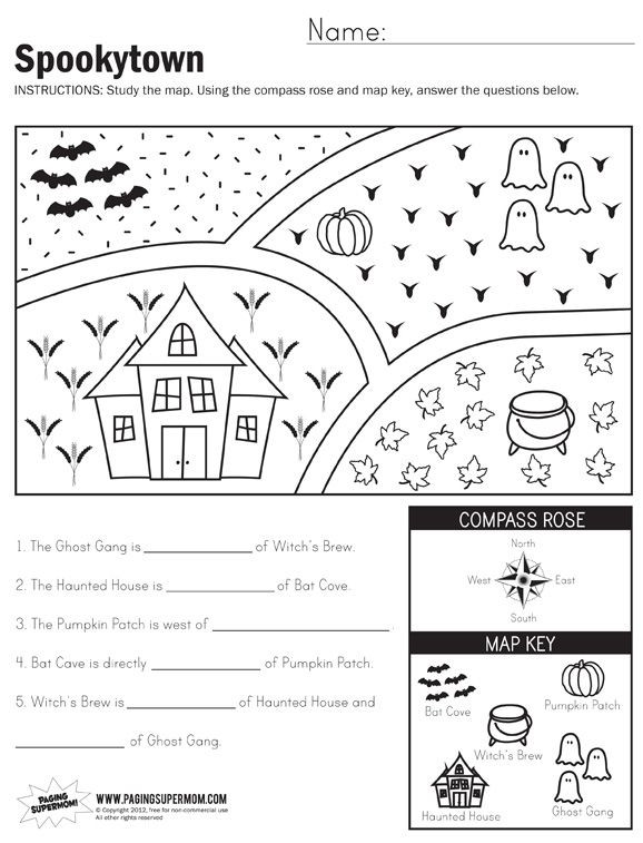 Map Worksheets for First Grade Spookytown Map Worksheet