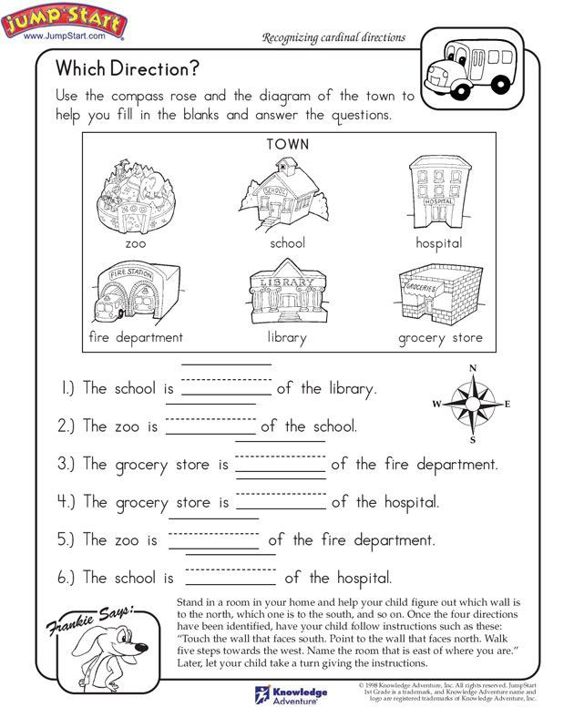 Map Worksheets for First Grade which Direction Printable Worksheet for Kids