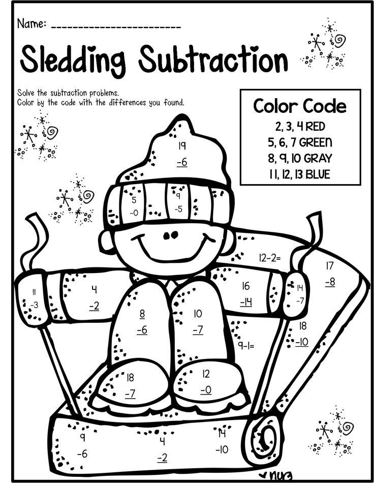 Math Coloring Pages 2nd Grade Winter Math & Literacy Print and Go 2nd Grade Ccss