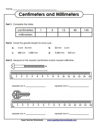 Measuring Worksheets for 3rd Grade Metric Measurement Worksheets Centimeters Cm and