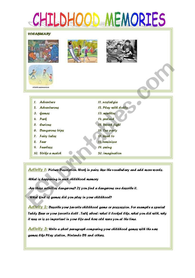 Memory Exercises for Adults Printable Childhood Memories Esl Worksheet by Diva2402